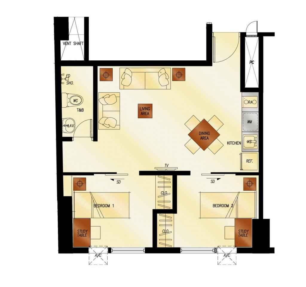 photo of 2Torre Lorenzo 2-Bedroom floor plan