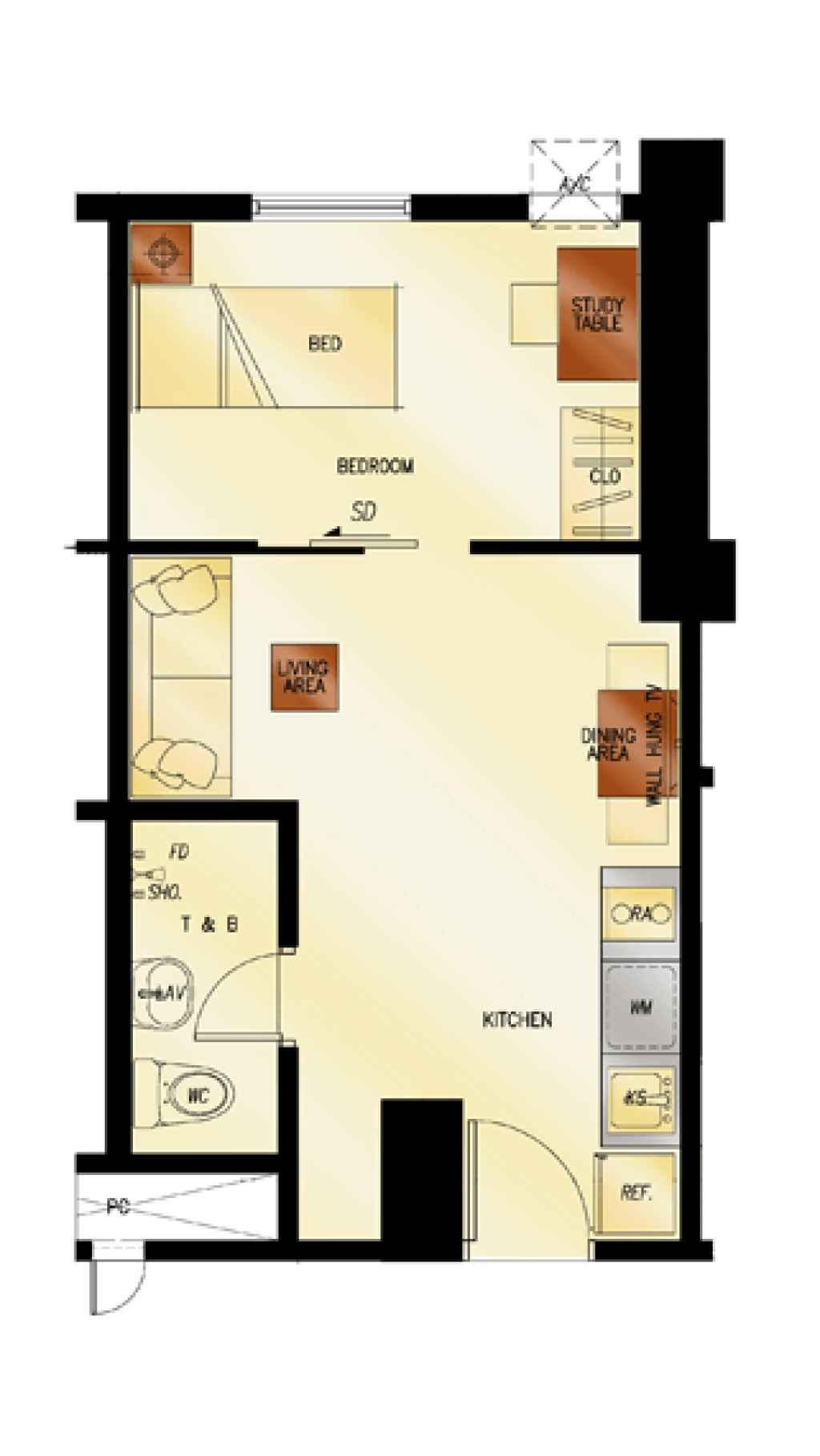 photo of 2Torre Lorenzo 1-Bedroom floor plan