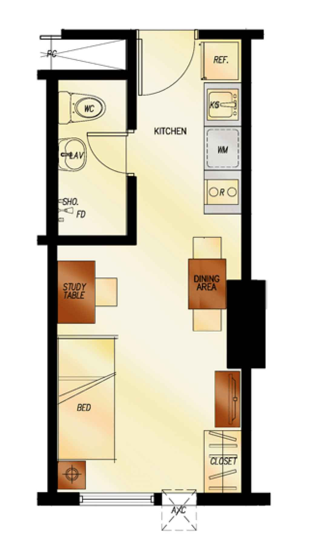 photo of 2Torre Lorenzo studio unit floor plan