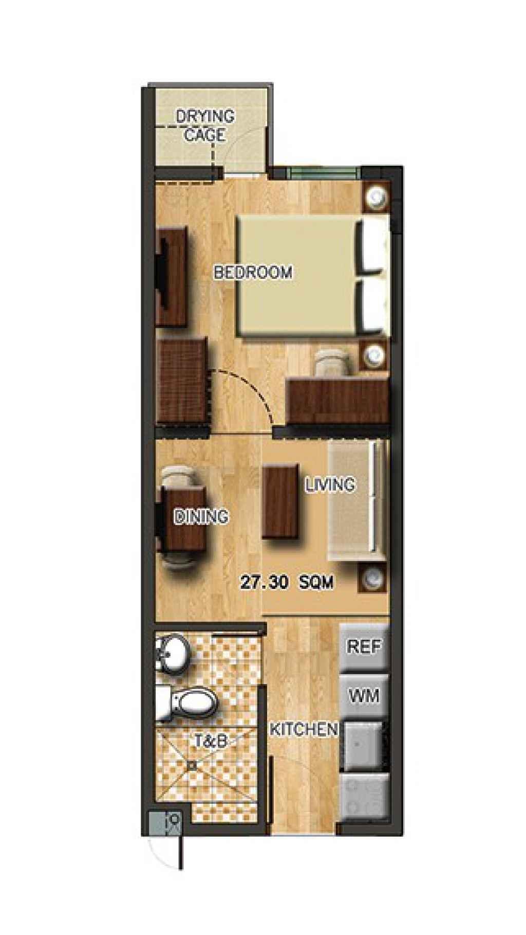 photo of Torre Lorenzo Sur 1-Bedroom floor layout